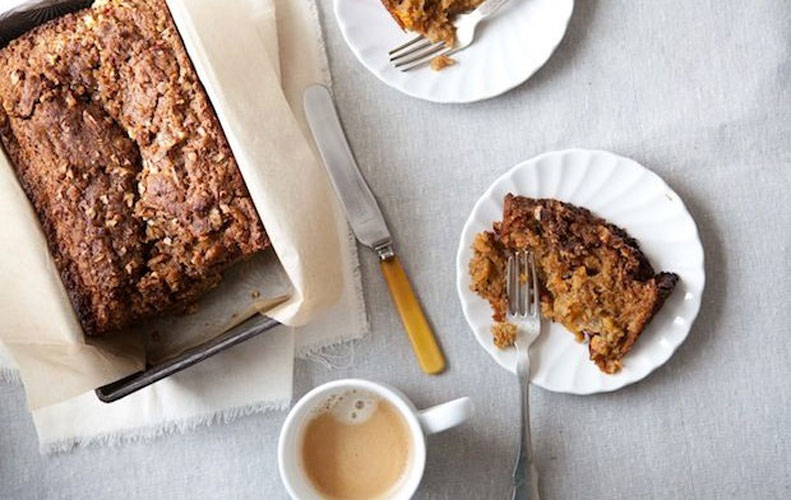 """Applesauce Carrot Bread with Pecan Streusel. A ridiculously moist, warmly spiced """"bread"""" that's part apple cake and part carrot cake and all delicious."""