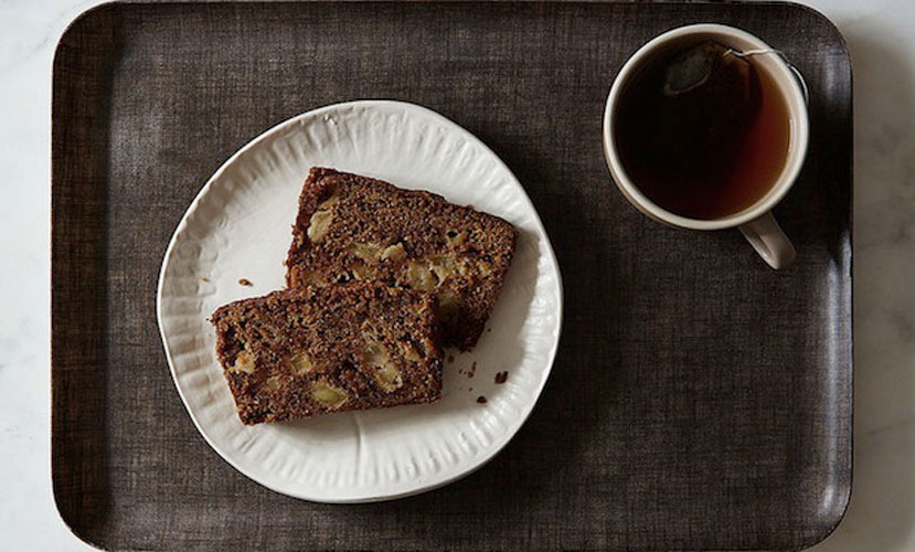 Red Rooibos + Gala Apple Bread. We love how refined this quickbread tastes; the rooibos and apple give it a floral fruitiness that feels elegant and special. We see this as part of a breakfast spread, or as an afternoon snack with a cup of tea.