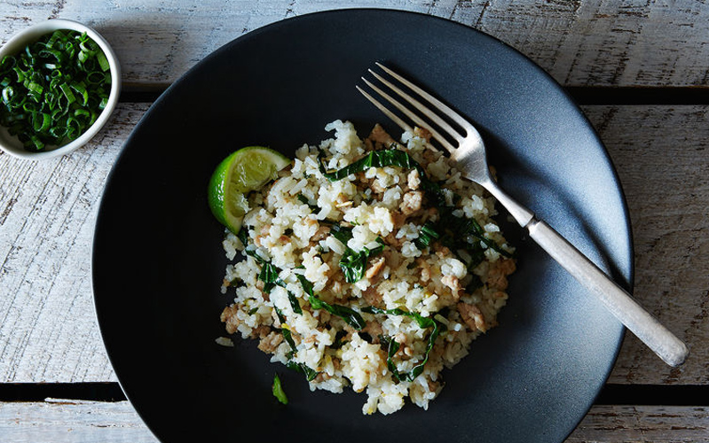 Scallion and Coconut Rice with Pork. A rich, fragrant meal that's just the right combination of sweet and salty—like risotto, but better.