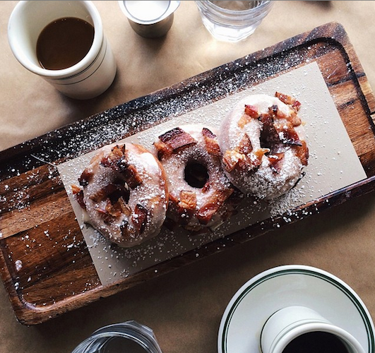 Even though maple-bacon donuts have been severely overplayed the last few years, we still wouldn't turn down this delicious looking trio. Photo: @aguynamedpatrick