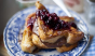 Nutella-stuffed French toast with blueberrycompote? Yes, please. Photo: @donalskehan