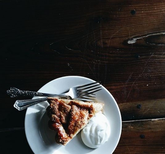 A mighty fine looking slice of apple caramel pie from Four & Twenty Blackbirds in Brooklyn. Photo: @leahlavelle