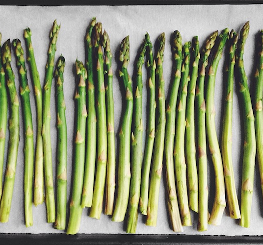 This tray of asparagus is a welcome change after a winter of root vegetables. Photo: @studiosnacks
