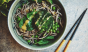 Cold soba noodles get the green treatment with a sprinkling of green peas, baby spinach, and broccoli. Photo: @mmmoky_