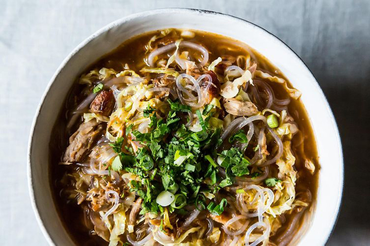 Spicy Sesame Pork Soup with Noodles. Making this soup is a long process, but you won't regret it. The smoky, spicy, long-simmered result is a worthy reward.