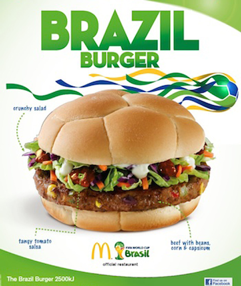 In Australia's World Cup promo, the Brazil Burger will be on a bun that looks like a soccer ball. (Photo: Burger Business)