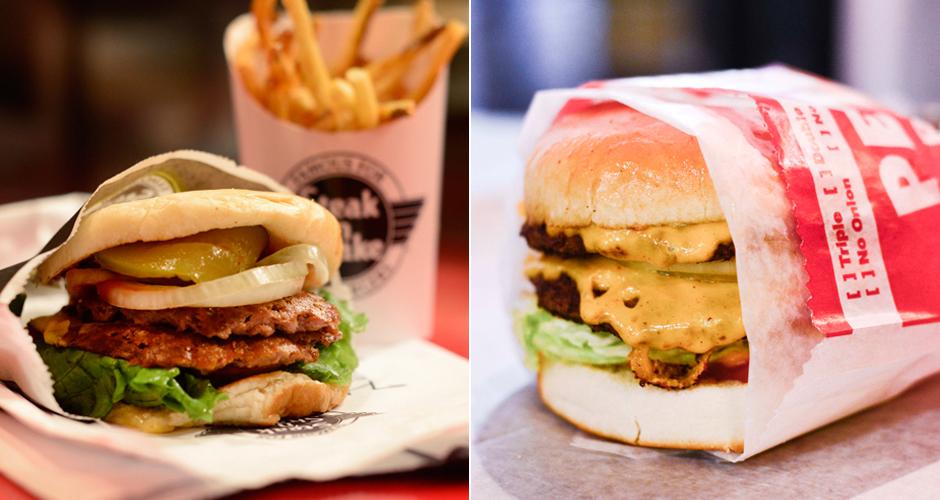 Burgers at Steak 'n Shake and Petey's (photos: Liz Barclay)