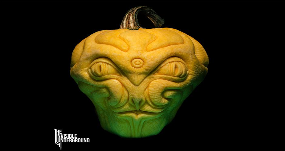 Alien pumpkin sculpture