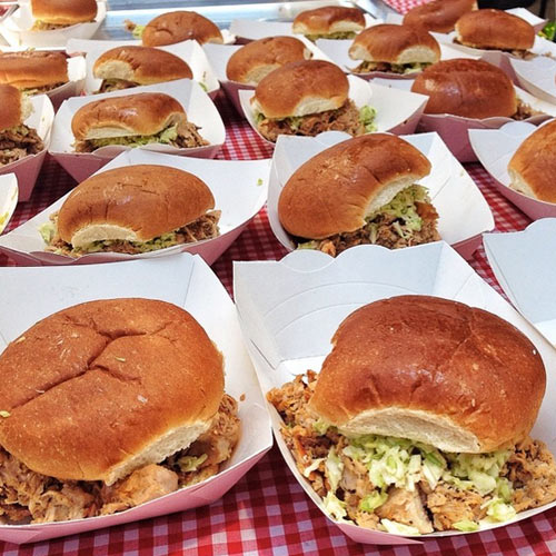 Chopped barbecue sandwiches (including one with extra pig skin) from Skylight Inn. (Photo: