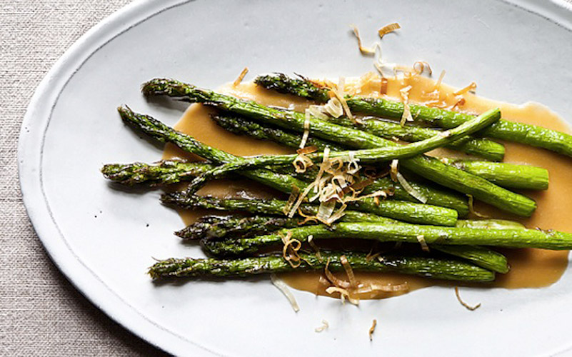Nobu's Fried Asparagus with Miso Dressing. Not only is this recipe a quick fix for asparagus fatigue, it also brings out its best qualities. Asparagus loves oil.