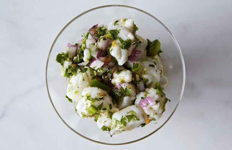 PERU: Peruvian Ceviche. Ceviche is the name for the marinated fish salads of South America, which are perfect for this season—instead of turning on the stove, you let acid do the cooking for you.