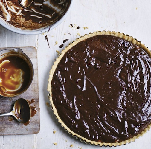 This dark chocolate chile caramel tart looks perfect for dessert o'clock. Photo: