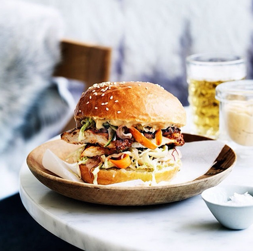This spicy grilled chicken sandwich, slathered with aioli and tomatillo salsa, can be found at Reuben Hills in Sydney, Australia. Photo: