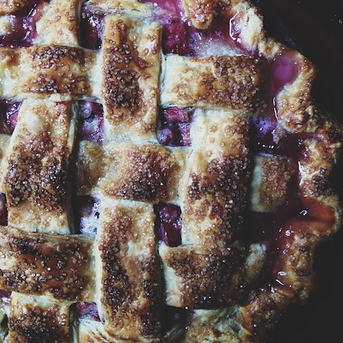 This rustic raspberry and rhubarb pie is bursting at the seams. Photo: