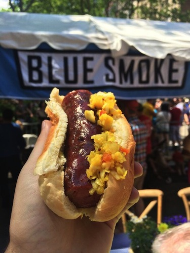 Andouille sausage with chow chow, courtesy of the locals at Blue Smoke. Photo