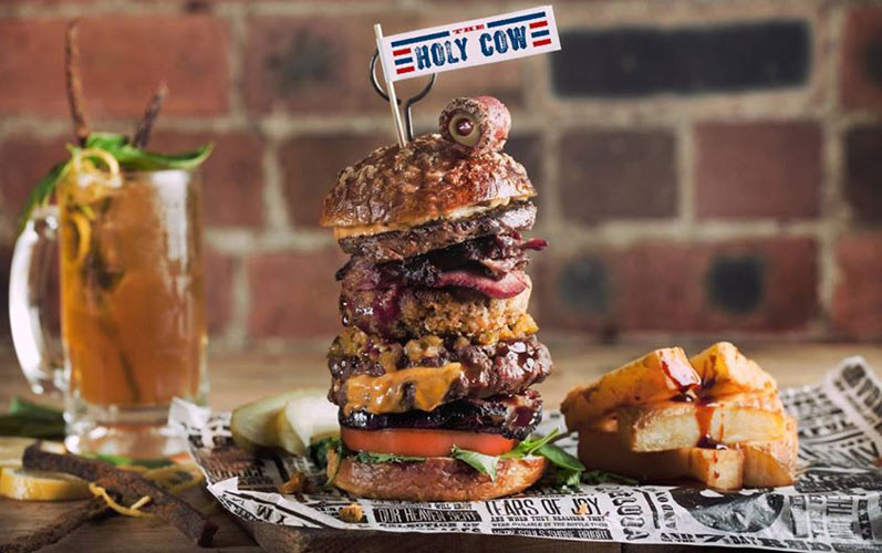 The Holy Cow burger includes 17 different types of beef. (Photo: