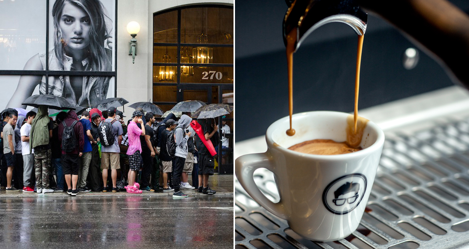 The hypebeasts at Supreme and a freshly pulled espresso at Gregory's Coffee (photos: Greg Babcock, Gregory's Coffee)