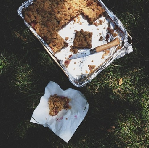 Sour cherry pie bars look best in the great outdoors. Photo: