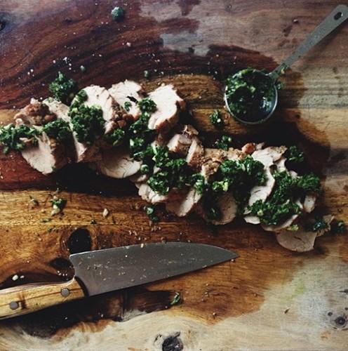 Summer feasting inspiration: grilled pork tenderloin with cilantro-basil chutney.