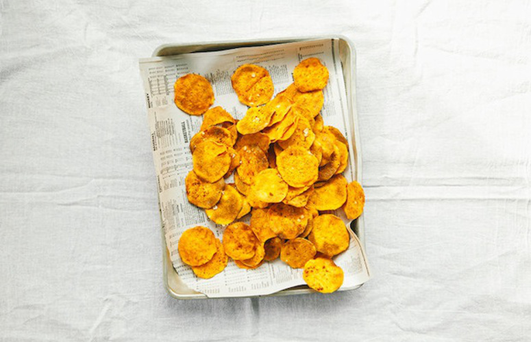 Sweet Potato Chips. Any spice you enjoy could be appropriate on these (za'atar, smoked paprika, ground cinnamon), but we went with some pre-fab taco spice because it has so many flavors that work great with sweet potatoes.