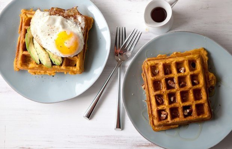 Sweet Potato Waffles, Sweet or Savory. Sweet potatoes are delicious with so many things, we wanted to make a waffle that echoed that adaptability and would be delicious with savory toppings as well as sweet.