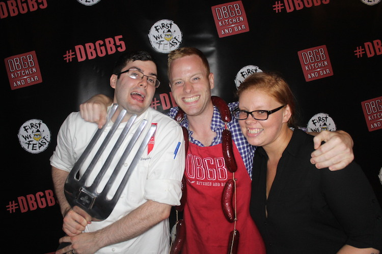 DBGB sous chef Ian Vest (center) takes a break from making guacamole