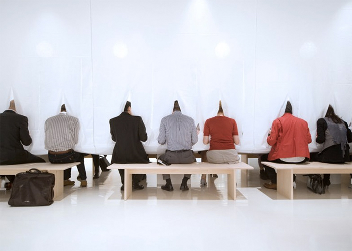 Designer Marije Vogelzang's 2005 project, Sharing Dinner, featuring vertical tablecloths. (All photos via Dezeen)