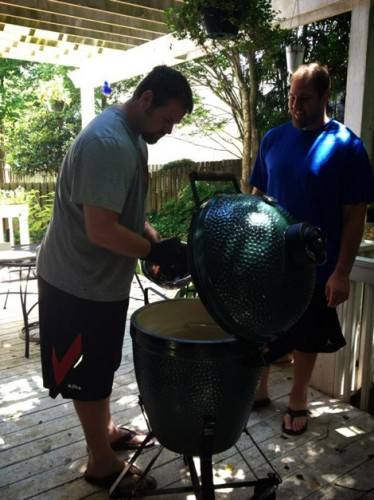 Geoff Schwartz at home with his green egg grill