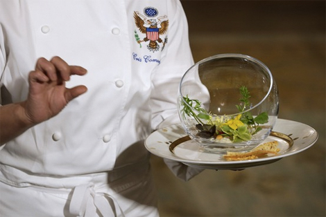 A salad served to François Hollande during a White House dinner in February. (Photo: Getty Images/ Wall Street Journal)