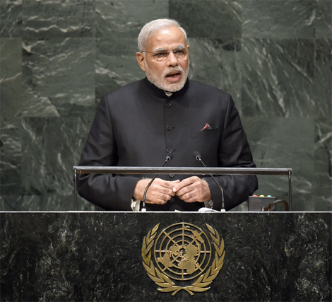 Mr. Modi addressing the UN General Assembly. (Photo: Narendra Modi official website)