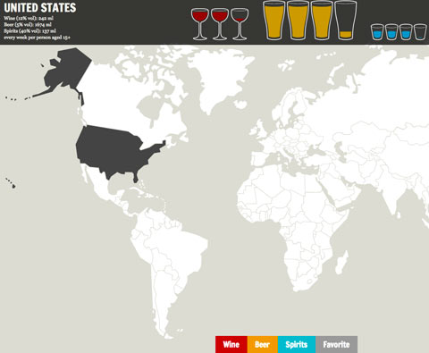 Map Shows Which Type of Alcohol Each Country s Most ... on united states regional stereotypes, united states government, united states of shame, georgia alcohol, united states fun fact,