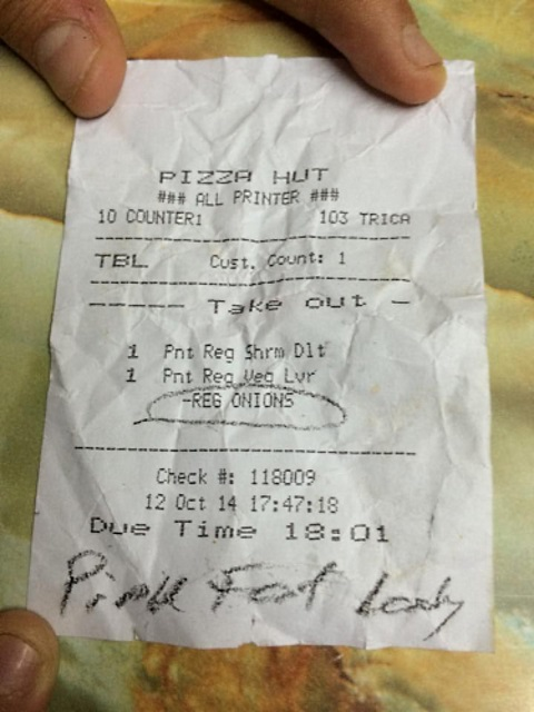 receipt pink fat lady
