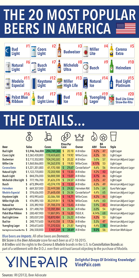 20 most popular beers infographic