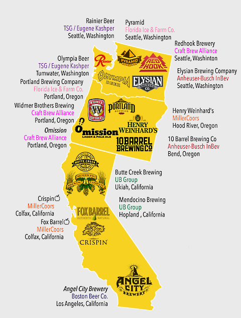beer company map west coast