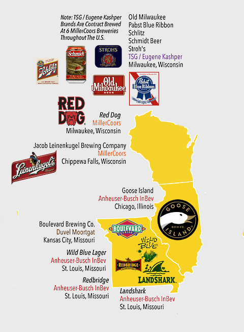 beer company map wi il mo