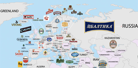 This Map Of The Worlds Most Popular Beers Is Kind Of Depressing - Beer Map Of The Us