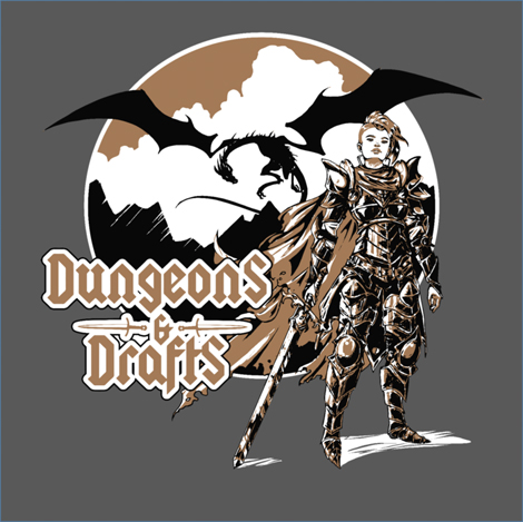 The official Dungeons & Drafts tshirt design.