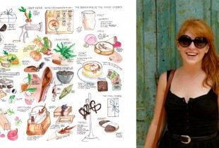 An illustration of a meal at Eleven Madison Park, by designer Emily Parkinson, pictured. (All photos: Emily Parkinson)