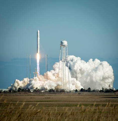 The Orbital Sciences Corporation Antares rocket is seen as it launches from Pad-0A of the Mid-Atlantic Regional Spaceport (MARS) at the NASA Wallops Flight Facility in Virginia, Sunday, April 21, 2013. The test launch marked the first flight of Antares and the first rocket launch from Pad-0A. The Antares rocket delivered the equivalent mass of a spacecraft, a so-called mass simulated payload, into Earth's orbit. Photo Credit: (NASA/Bill Ingalls)