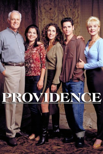 PROVIDENCE -- NBC Series -- Pictured: (l-r) Mike Farrell as Jim Hansen, Paula Cale as Joanie Hansen, Melina Kanakaredes as Dr. Sydney Hansen, Seth Peterson as Robbie Hansen, Concetta Tomei as Lunda Hansen -- NBC Photo: Art Streiber